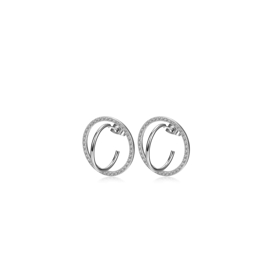 CZ Encrusted Coil-Link Earrings