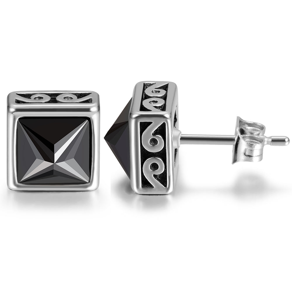 Black Square CZ Stud Earrings