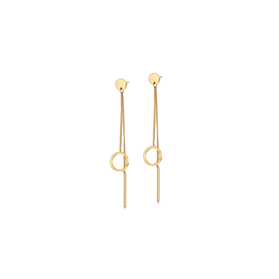 Circle and Bar Linear Earrings