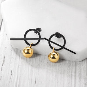 Load image into Gallery viewer, Bar Metal Ball Geometric Drop Earrings