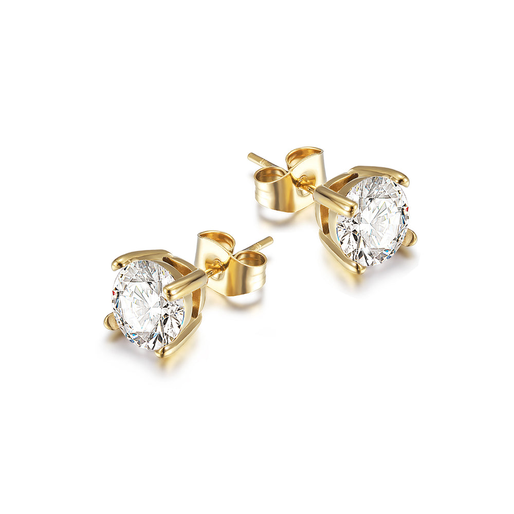 Basket-Set Round CZ Stud Earrings