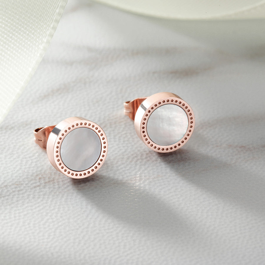 Mother Of Pearl Shell Round Stud Earrings