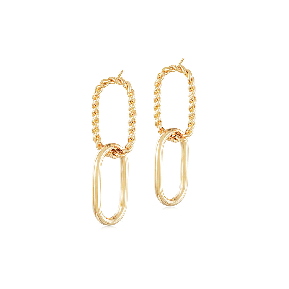 THREADER INTERLOCKING HOOP EARRINGS