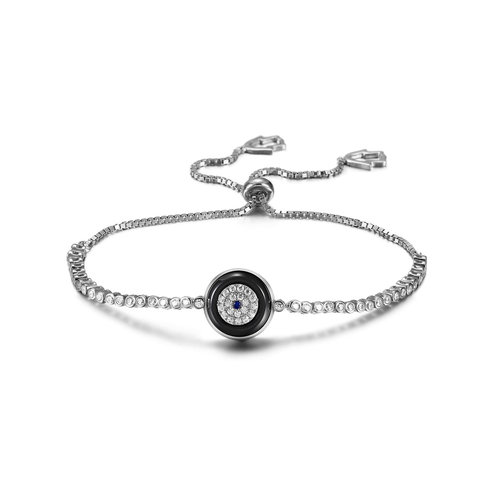 Load image into Gallery viewer, Sterling Silver Evil Eye Charm Bracelet