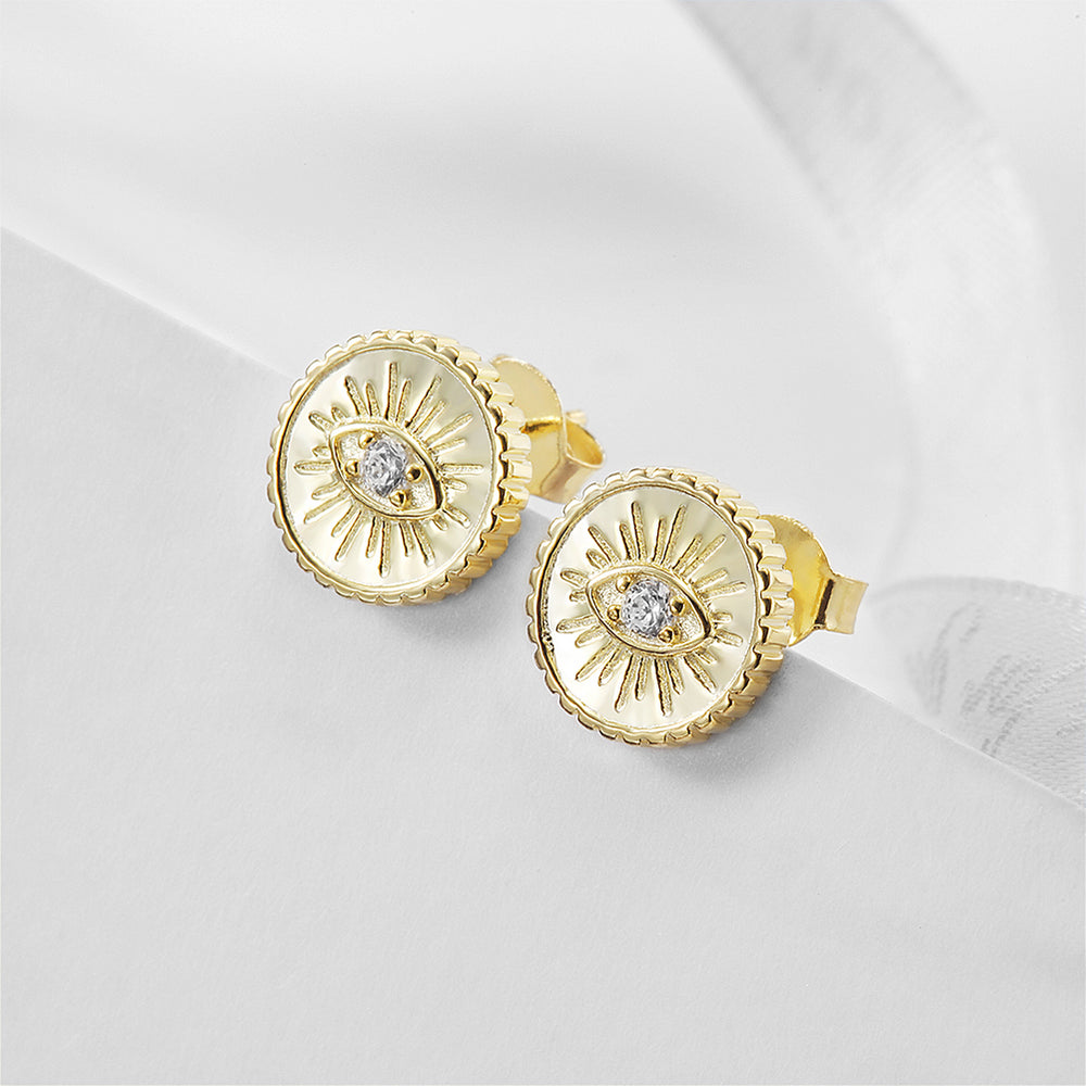 Load image into Gallery viewer, Evil Eye Coin Stud Earrings
