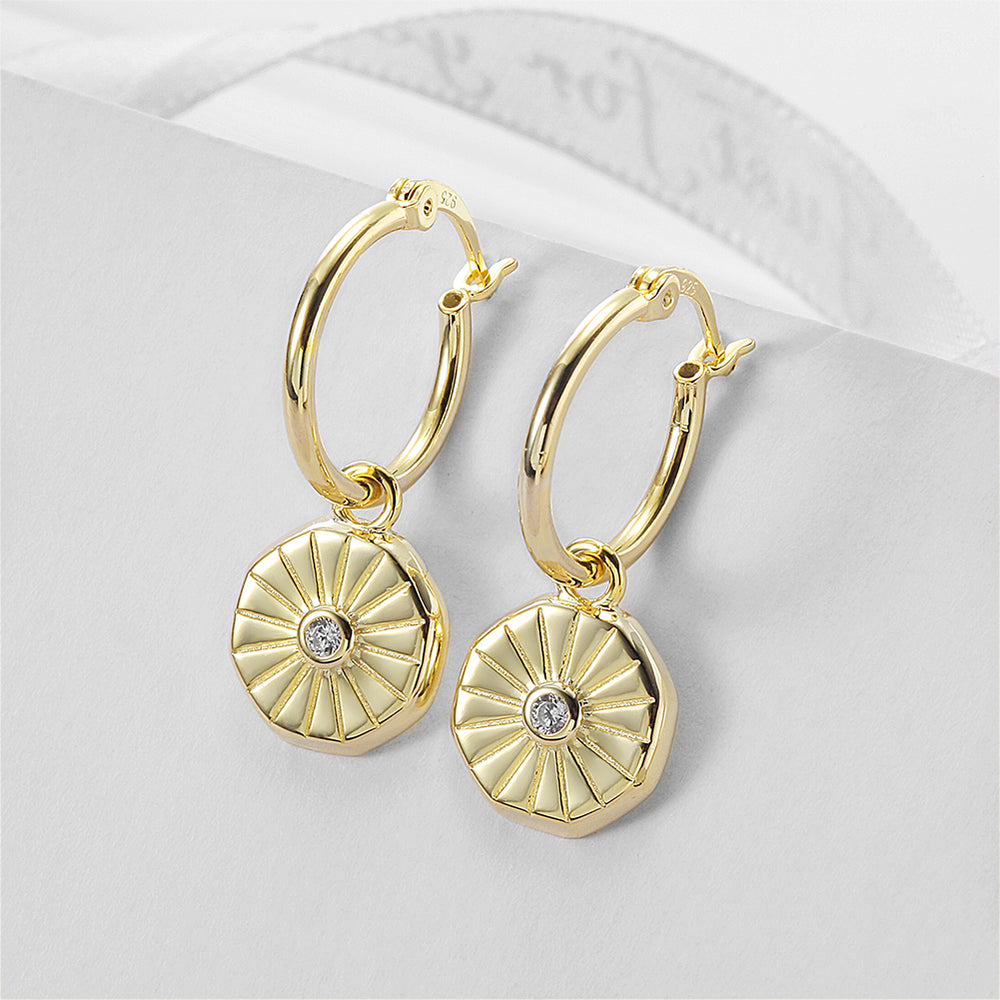 Sunburst Coin Huggie Earrings