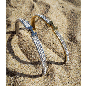 Load image into Gallery viewer, Thin H-Shaped CZ Bangle