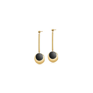 Load image into Gallery viewer, Gold & Black Discs Dangle Earrings