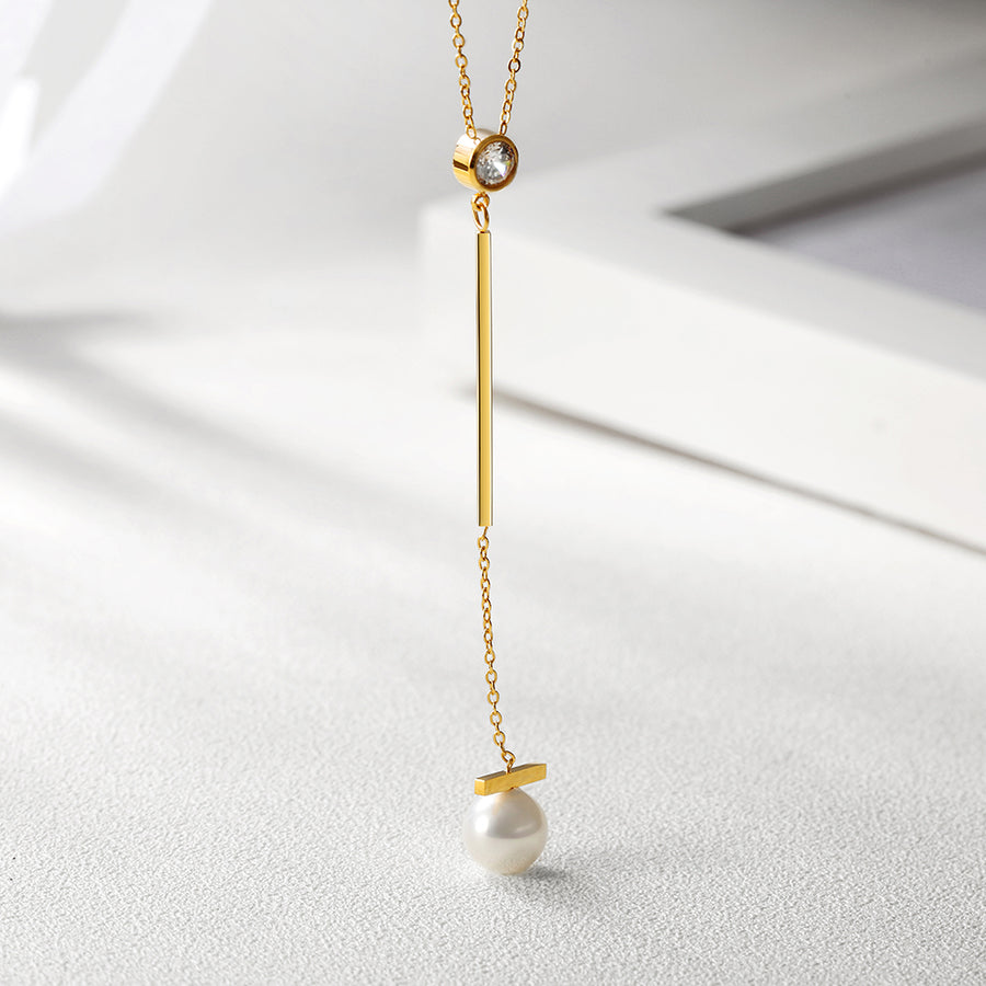 Pearl with Bar Pendant Drop Necklace