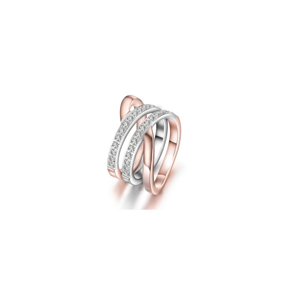 Rose Gold Wide Band Cocktail Ring with CZ