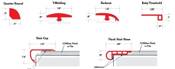 Coretec One Moldings Dimensions