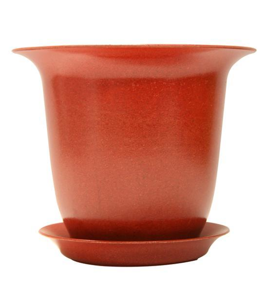 "Fiber Pot & Saucer - Red 6""- Case of 4"