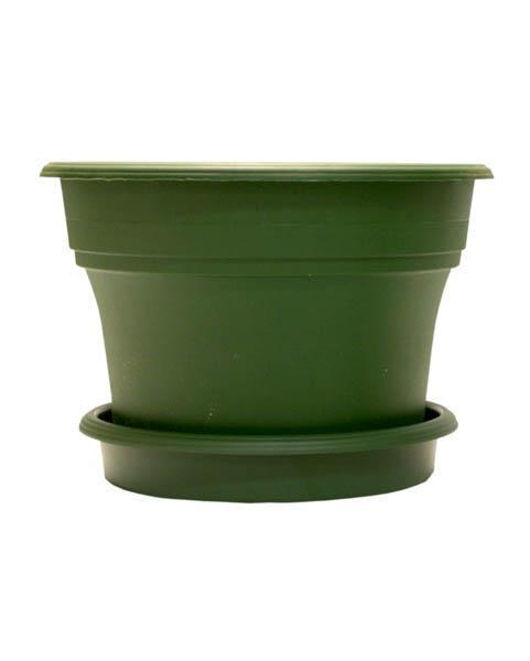 "Terracycle Recycled Pot and Saucer - 10"" Green - Set of 4"