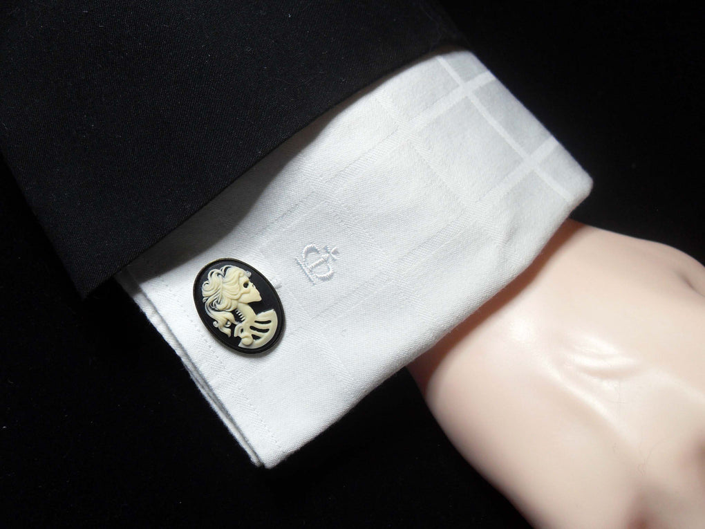 LADY SKULL SKELETON CAMEO CUFFLINKS - THEBLACKWARDROBE.COM