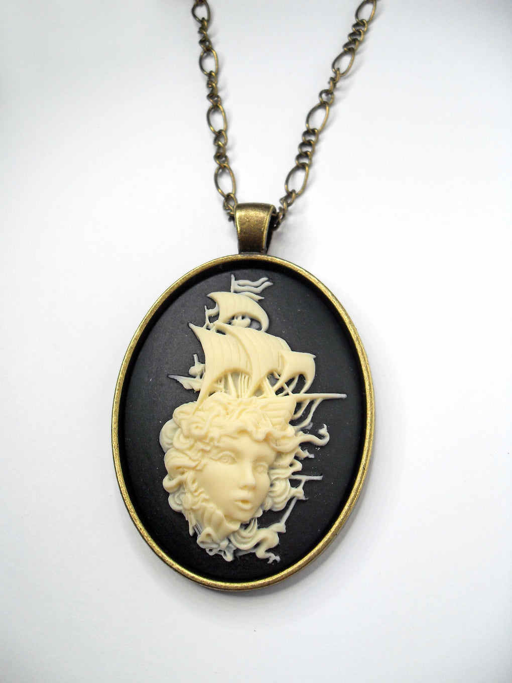 STEAMPUNK SIREN SEA MONSTER CAMEO NECKLACE