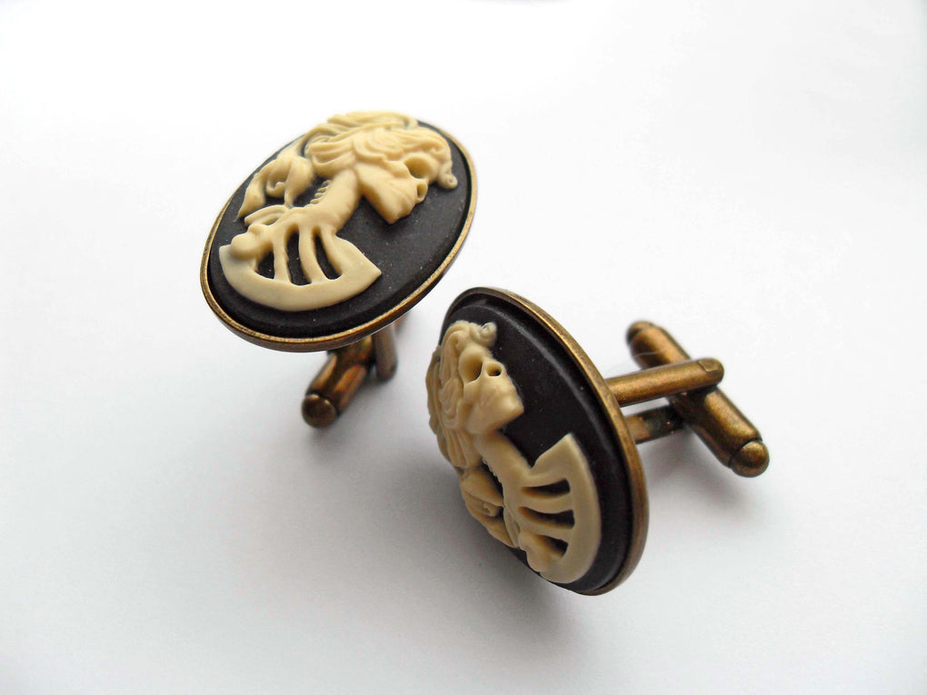 LADY SKULL SKELETON CAMEO CUFFLINKS