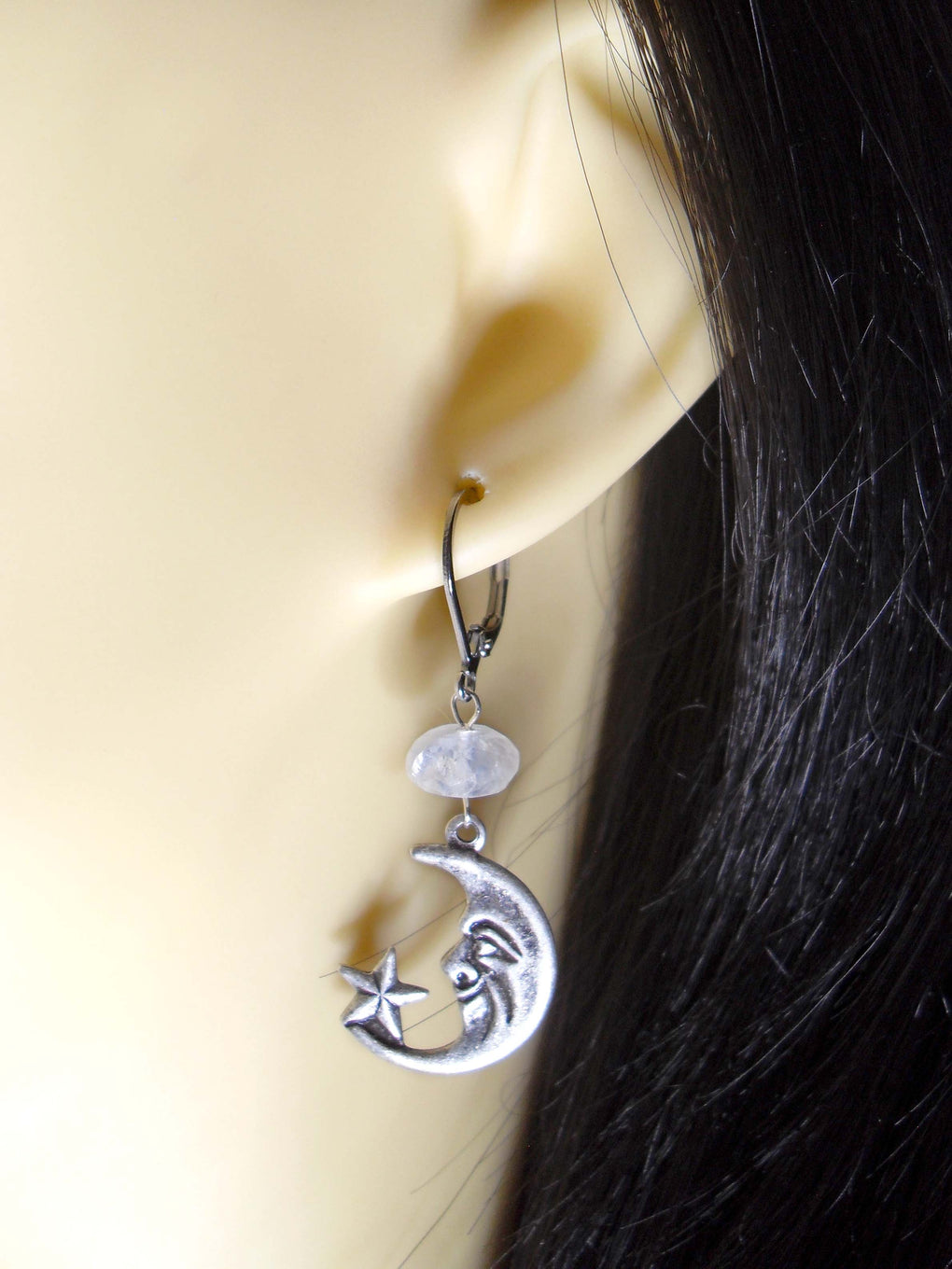 MOONSTONE CRESCENT MOON EARRINGS