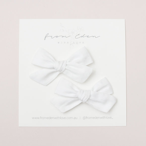 Pigtail Bow Set - White
