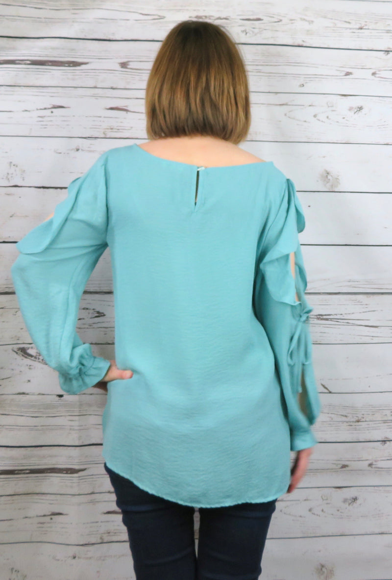 Turquoise & Ruffles Blouse
