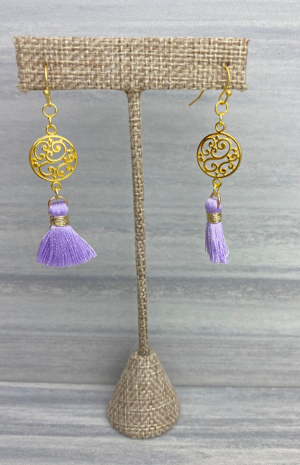 Filigree Lavender Tassel Earrings