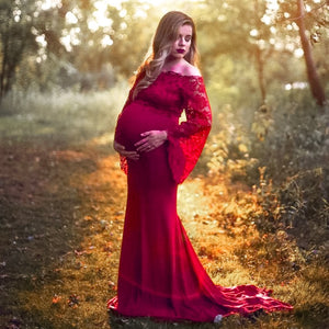 Lace Shoulderless Maternity Photo Shoot Dress