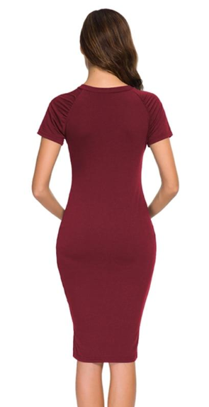 Casual Ruched Dress with Small Slit