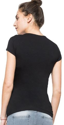V-neck, Casual Short Sleeve Maternity/Nursing Top (2505227894844)