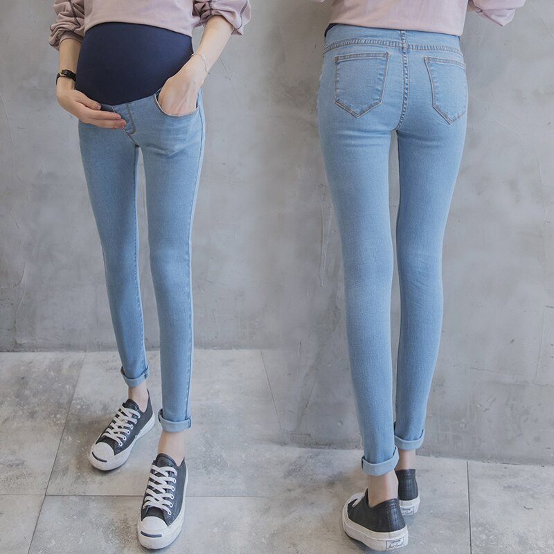 Light Blue Washed Denim Skinny Maternity Jeans (4250156695684)