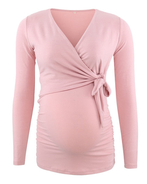 Side Tie Maternity/Nursing Top (4159163662468)