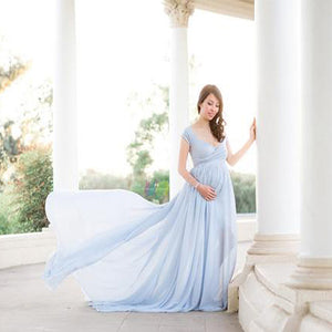 Chiffon Trumpet Silhouette Maternity Gown (4252734226564)