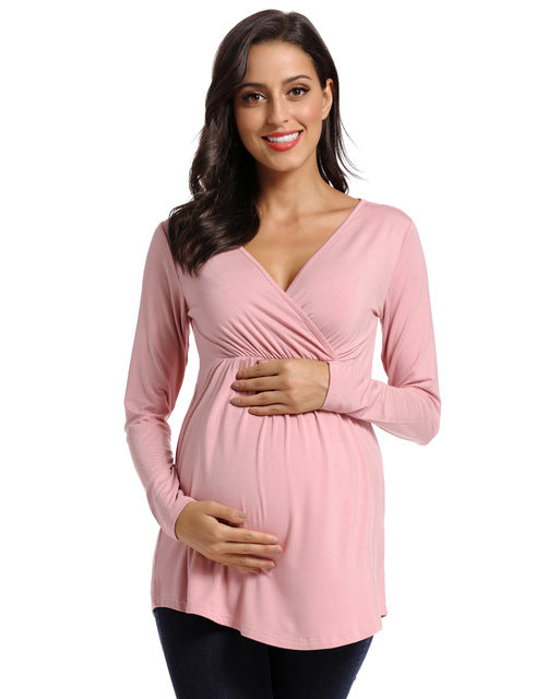 V Neck, Sinched Waist Maternity/Nursing Top