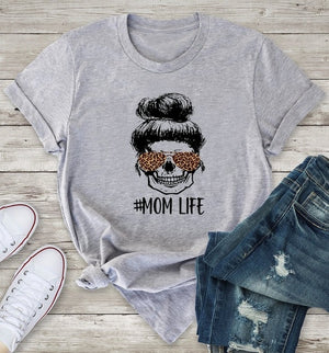 #Mom Life Leopard Skeleton Tee