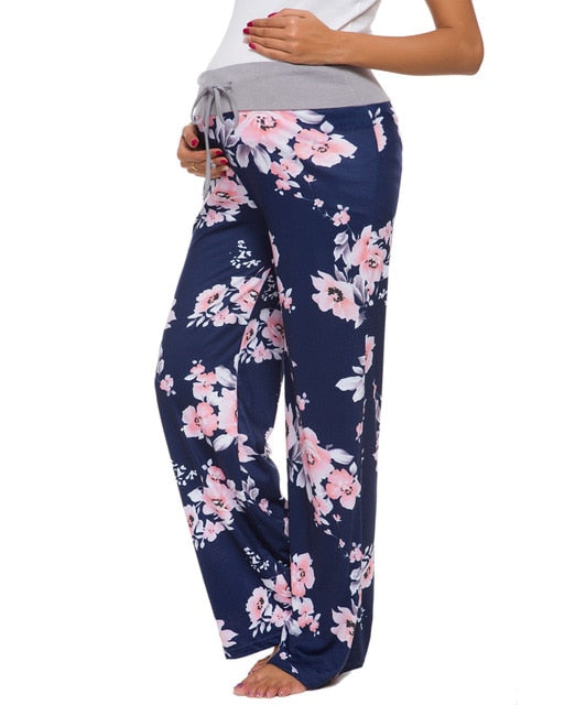 Fold Over-Ruched Drawstring Floral Palazzo Pants
