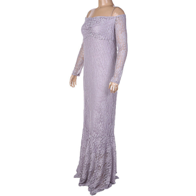 Winter Lace Long Sleeve Maternity Dress (4252730065028)
