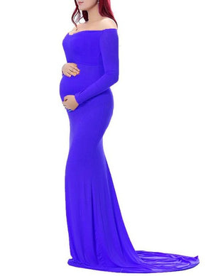 Long Sleeve Sleek Maternity Gown (4252751102084)