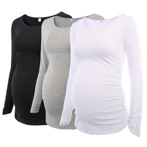 Flattering Side Ruching Long Sleeve Scoop Neck Pregnancy T-shirt (1 or 3 Piece Bundle) (2516619690044)
