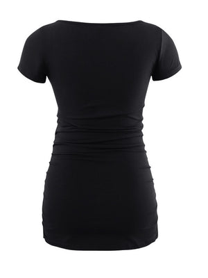 Casual Flattering Side Ruching T Shirt (2505243426876)