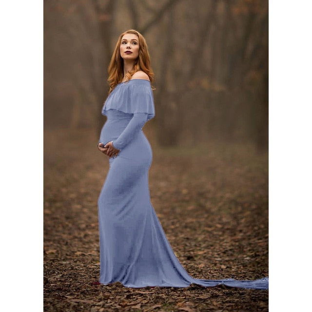 Shoulderless Trailing Maternity Photo Shoot Dress (4162317615236)