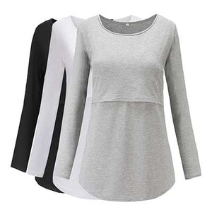 Maternity/Nursing Blouse-Set of Three (4159159795844)