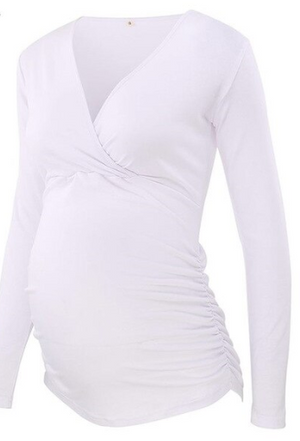 Side Ruched Double Layered Crossed Maternity/Nursing Shirt (4159121621124)