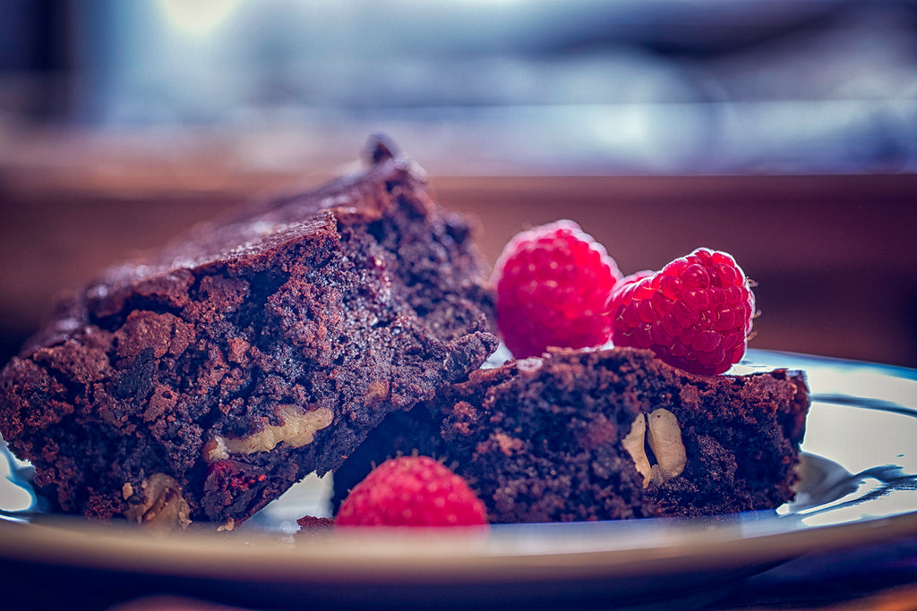 Raspberry Walnut Chocolate Chip Protein Brownies