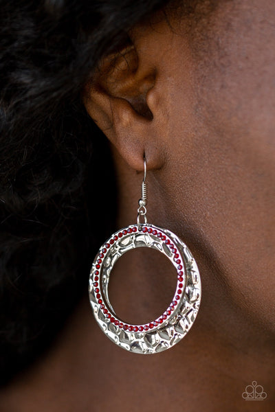 Paparazzi Cinematic Shimmer - Red Earrings