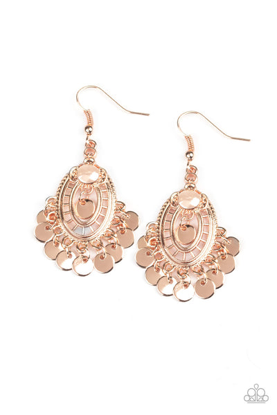 Paparazzi Chime Chic - Rose Gold Earrings