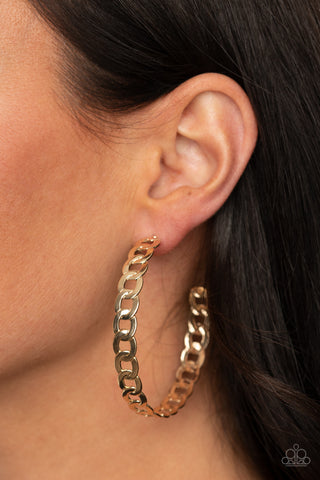 Paparazzi Climate CHAINge Gold Earrings