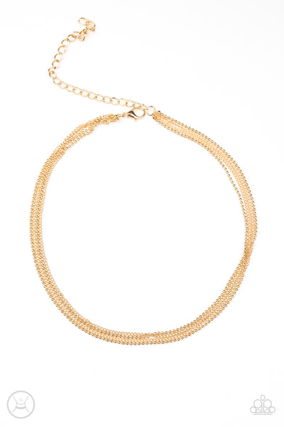 Paparazzi If You Dare Gold Choker Necklace