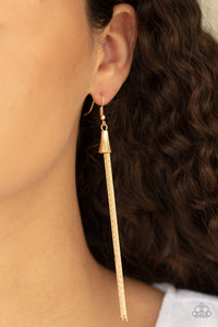 Paparazzi Shimmery Streamers - Gold Earrings