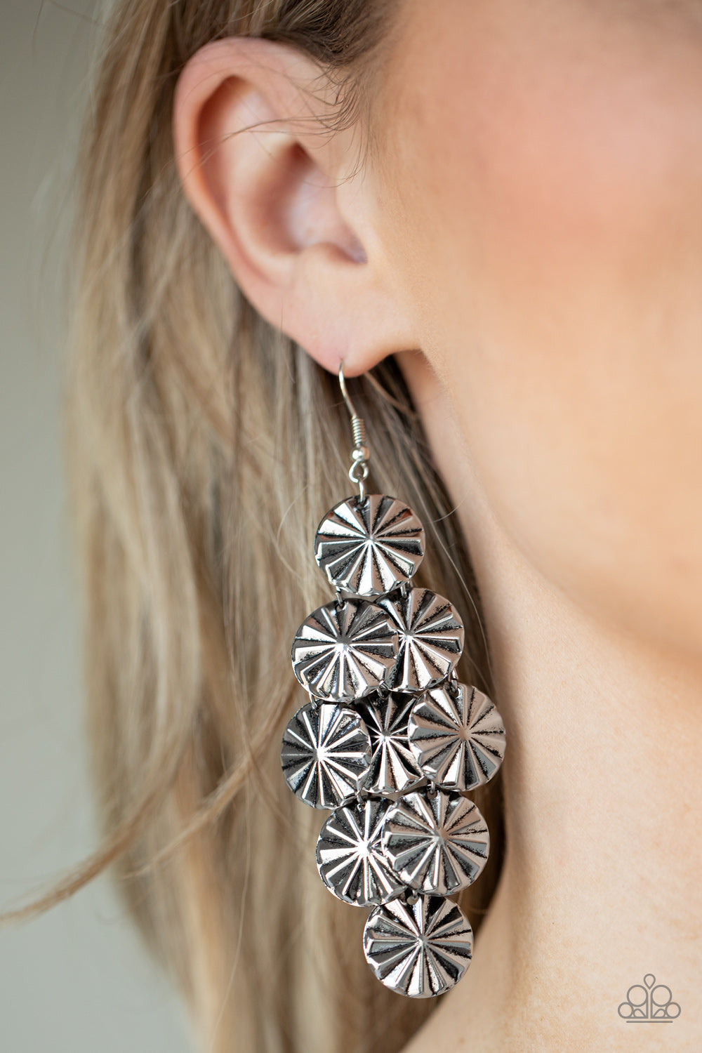 Paparazzi Star Spangled Shine - Silver Earrings