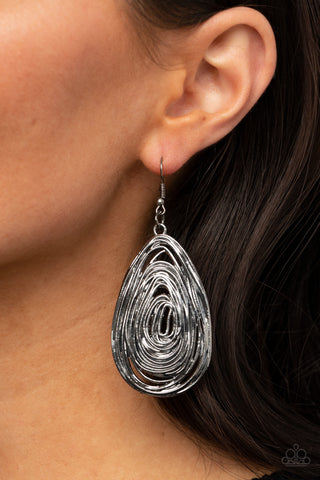 Paparazzi Rural Ripples Black Gunmetal Earrings