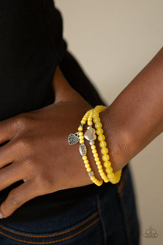 Paparazzi Really Romantic - Yellow Bracelet