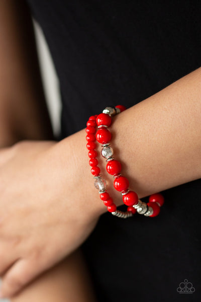 Paparazzi Colorful Collisions - Red Bracelet
